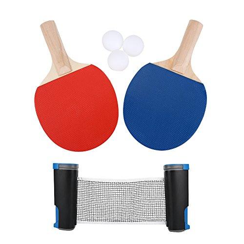 Tafel Tennis Set Metalen Klem Palen Ping Pong Paddles met 3 Ballen en Paddles voor Outdoor Indoor Ping Pong Activiteiten