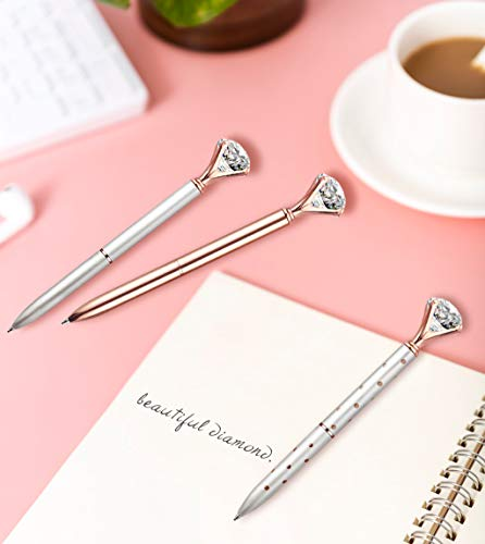3 Pcs Diamond Pens With Big Crystal Bling Metal Ballpoint Pen, Fancy Office School Supplies, Rose Gold/White With Rose Polka Dot/Silver, Includes 3 Pen Refills(Black Ink) Photo #3