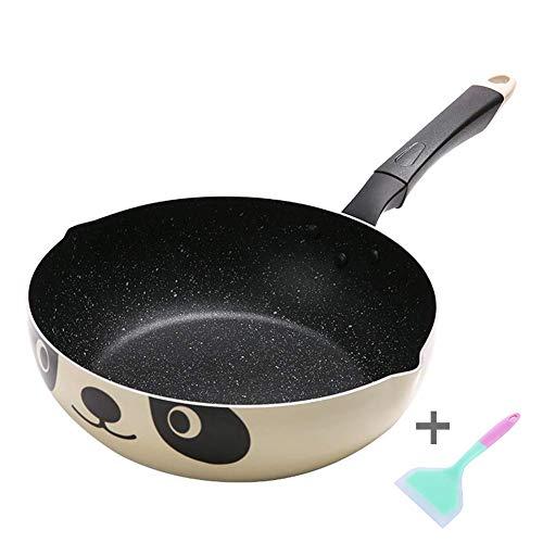 LULUDP Casseroles et poëles Sauteuse Wok poêle antiadhésive en Alliage d'aluminium Wok Pot Maifanstone Grande capacité Poêle à Frire poêle Panda Pattern Cookware, 26cm Batteries de Cuisine