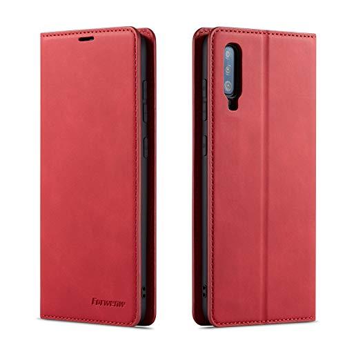 QLTYPRI Hülle für Samsung Galaxy A70, Premium Dünne Ledertasche Handyhülle mit Kartenfach Ständer Flip Schutzhülle Kompatibel mit Samsung Galaxy A70 - Rot