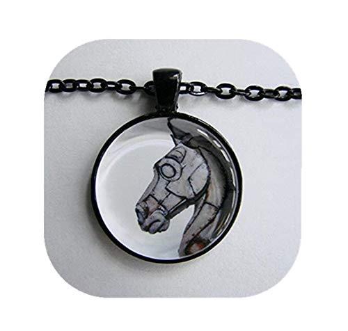 Heng Yuan Halskette mit Pferdeanhänger Talisman Cheng trojanisches Pferd Steampunk Weiß Pferdekunst Schachstück White Knight