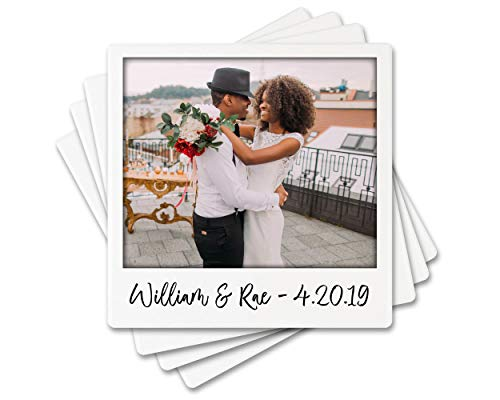 """KREBS Personalized Photo Coaster Gift Set of 4-4"""" USA Absorbent Ceramic Stone - Custom WEDDING Gifts for Couple, Housewarming, Engagement, Anniversary Keepsake, Birthday, Bar Accessories for Home"""