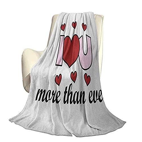 I Love You More Fluffy Felpa Suave y cómoda Manta cálida Mensaje Especial de Amor Texto estilizado Afecto Tema de enamoramiento Funda nórdica de Aire Acondicionado de Lujo A80 x L60 Pulgadas