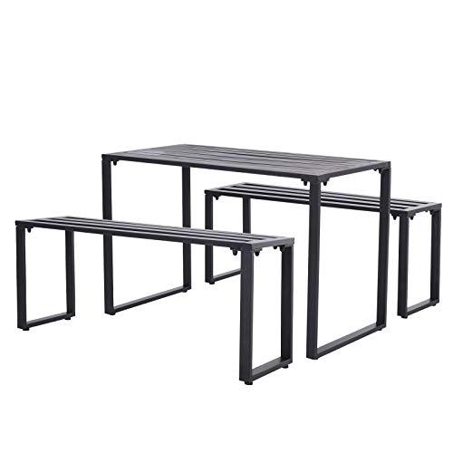 Outsunny Outdoor Möbelset Festgarnitur 3-TLG. Sitzgruppe Gartengarnitur 1 x Tisch 2 x Sitzbank Metall Schwarz 110 x 55 x 70 cm