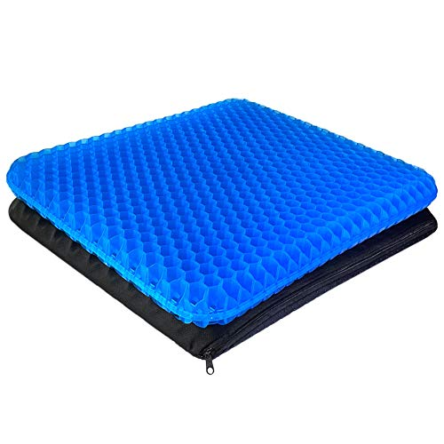 Gel Seat Cushion - Enhanced Double Thick Egg Seat Cushion with Non-Slip Cover - Office Chair Car Seat Cushion - Sciatica & Back Pain Relief - Perfect...