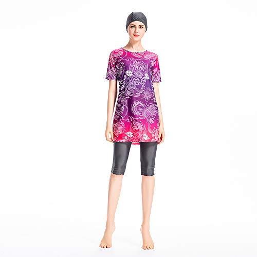 XDXART - Traje de baño musulmán modesto para mujer, sin mangas, pantalones recortados, traje de baño islámico
