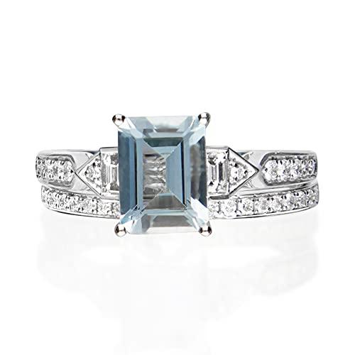 Gin & Grace Oro blanco 14K Natural Azul Aguamarina Diamante (I1, I2) Proponer sistema nupcial Promise Ring (6) Tamaño de la Mujer