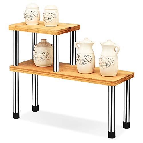 COSTWAY 2er Set Küchen Eckregal, Gewürzregal aus Bambus, Küchenregal, Küchengestell, Lagerregal,...