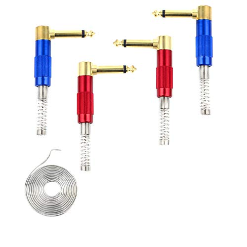1/4' Audio Plugs 6.35 mm Plug TS Male 1/4 inch Heavy Duty Solder Type Mono Connector with Spring, Right Angle for DJ Mixer, Speaker Guitar Cables, Patch Cable, Microphone Cable Blue+Red (4 Pack)