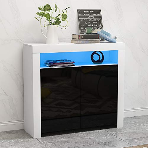 Ruication Sideboard Cabinet Cupboard Matt Body and High Gloss Fronts Sideboard with LED Lights Furniture for Living Room Dining Room Kitchen Bathroom Bedroom Hallway (White & Grey)