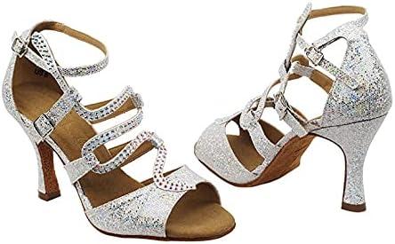 Very Fine Ladies' Latin, Rhythm & Salsa Dance Shoes - SERA7017 2.5 Inch Heel + one Pair of Heel Protectors Bundle