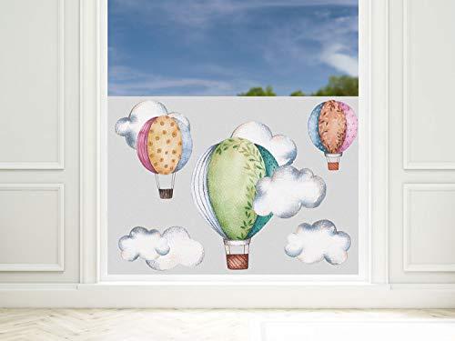 GRAZDesign Fensterfolie Kinderzimmer türkis Heißluftballon, Sichtschutzfolie Blickdicht, Milchglasfolie, 57cm hoch / 80x57cm