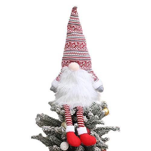Gnome Christmas Tree Topper,Gnome Christmas Ornaments Santa Gnomes Plush Party Decoration Ornament Supplies
