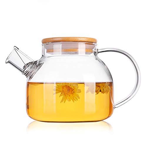 Verseuse en verre avec couvercle, Wisolt carafe en verre au borosilicate de, théière en verre, bouilloire en verre, grand pichet pour boisson à base de jus de thé - Cuisinière Coffre-fort - 1000ML