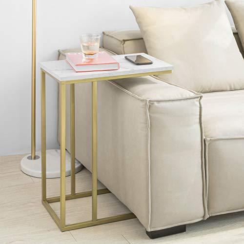 SoBuy FBT87-G Beistelltisch Sofatisch Kaffeetisch Laptoptisch Betttisch Pflegetisch mit goldenem Metallgestell BHT ca.: 48x61x30cm