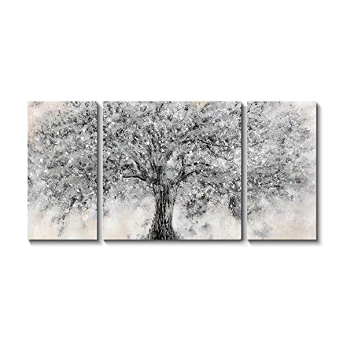 TAR TAR STUDIO Abstract Tree Canvas Wall Art: Sliver Gray Maple Blossom Artwork Picture Painting on Canvas for Living Room (Overall 64' W x 32' H, Multiple Sizes/Color)