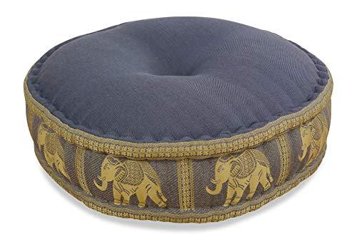 livasia Zafukissen Seide mit Kapokfüllung, Meditationskissen, Yogakissen, rundes Sitzkissen/Bodenkissen (grau/Elefanten)
