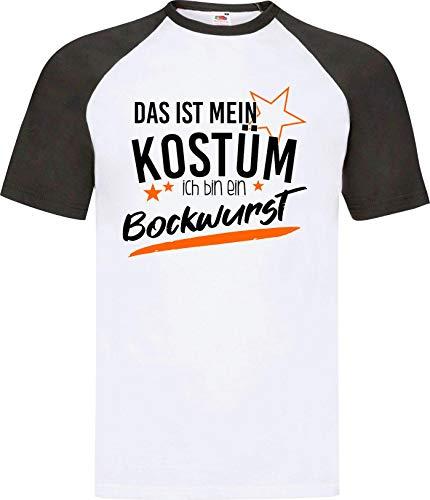 Shirtinstyle Raglan Shirt Karneval Das ist Mein Kostüm ich Bin eine Bockwurst Fasching Kostüm Verkleidung, Farbe Weiss-schwarz, Größe XXL
