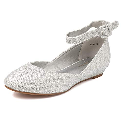 DREAM PAIRS Women's Revona Silver Glitter Low Wedge Ankle Strap Flats Shoes - 8 B(M) US