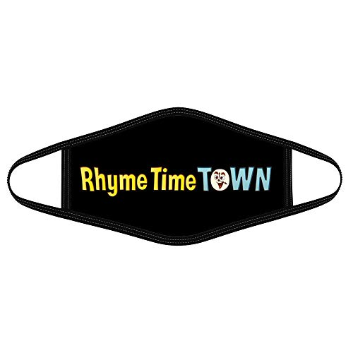 Eledin Cloth Face Mask Rhyme Cute Logo Time Town Children Animated Web TV Series American Funny Custom Covering for Women Men Daily Outdoor Washable Fashion (1pcs/Pack) Black