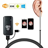 Wireless Ear Camera - Ear Endoscope for Ear Wax Removal,WiFi Otoscope with 6 LED Lights and HD 1080P High Clear Video Quality,Compatible with iOS and Android Smart Phone or Tablet