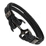 Tom Miller Bracelet Ancre Homme Noir 21 cm de Long en Cuir de Haute qualité Cadeau...