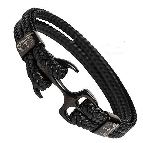 Tom Miller® Herren Armband mit schwarzem Anker aus hochwertigem Leder. Ausgezeichnetes Männerschmuck Geschenk… (Schwarz, 19)