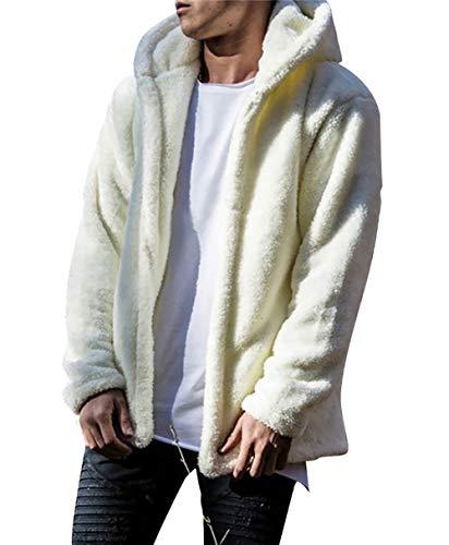 Carolilly Herren Teddy-Fleece Jacke mit Taschen Warm Plüsch Mantel Hoodie Sweatshirt Outwear (M, Weiß)