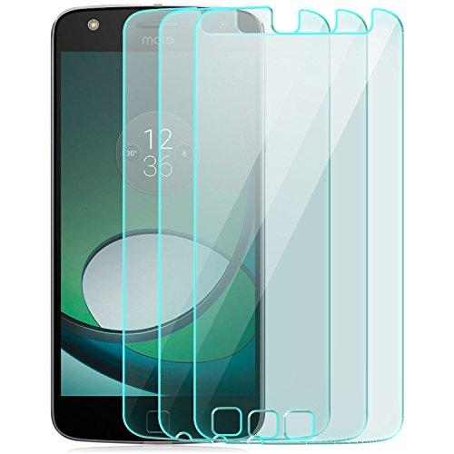 zanasta 3X Bildschirmschutz Folie aus Gehärtetem Glas Motorola Moto Z Play Schutzfolie Panzerfolie Glasfolie Schutzglas | HD Klar Transparent