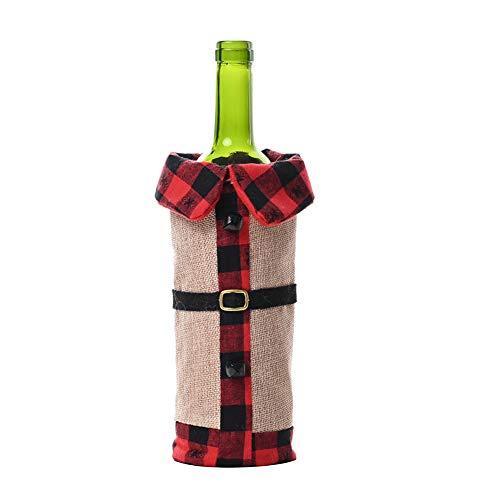 WFZ17 Weinflaschen-Abdeckung mit Weihnachtsmann-Motiv, für Esstisch, für Weihnachten, Party, Dekoration, Rot / Schwarz