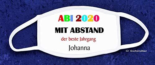 """NEU - NEU und Aktuell - Abigeschenke - Bedruckbare Gesichtsmaske - Motiv """"ABI 2020 - Mit Abstand der beste Jahrgang"""" mit Ihrem Wunschnamen"""