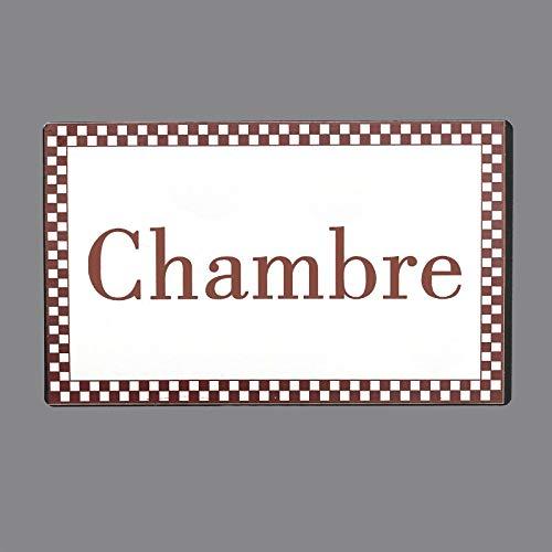 chemin_de_campagne Plaque de Porte Chambre Fer Blanc Entourage Vichy Bordeaux Rectangulaire 15 cm