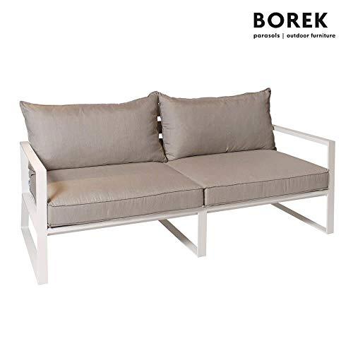 Sofá de jardín Borek – Aluminio – con cojines – Samos Sofá/Blanco