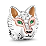 GNOCE 'Clever As A Wolf Elegant Ancient Wolf 925 Sterling Silver Animal Bead Charm Colorful Green Zircon Wolf Head Necklace Pendant for Dog Lover Fit All Major Brands of Bracelets/Necklace