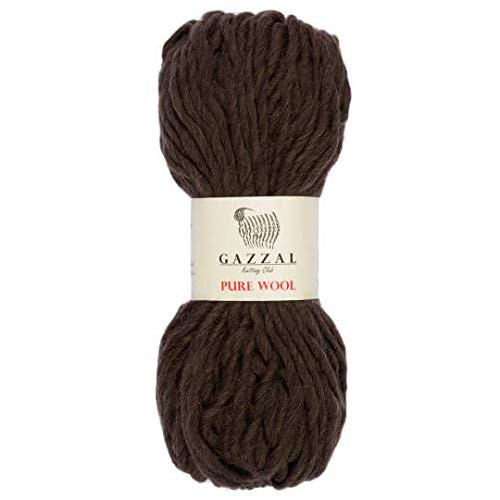 1 Skein Gazzal Pure Wool Yarn, 21% Acrylic, 100% Australian Wool, 3.53 Oz (100g) / 71 Yrds (65 m), Yarn Weight 6: Super Bulky, Brown - 5246