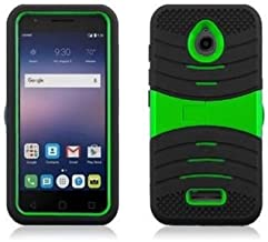 JFXONE Hybrid Armor w Kickstand Case Phone Cover for Alcatel Ideal 4060a GoPhone (Black Green)