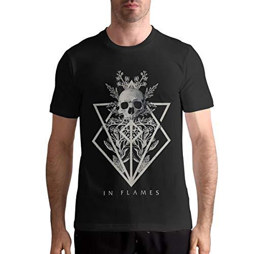 in Flames Band T Shirt Mens Fashion Shirt Cotton Tee Shirts Short Sleeve L Black