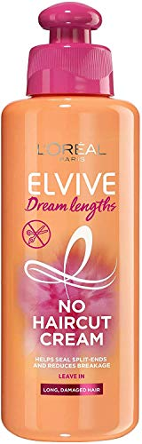 L'Oréal Hair Leave In Conditioner Cream, by Elvive Dream Lengths, No Haircut Cream, For Long, Damaged Hair, with Keratin, 200 ml