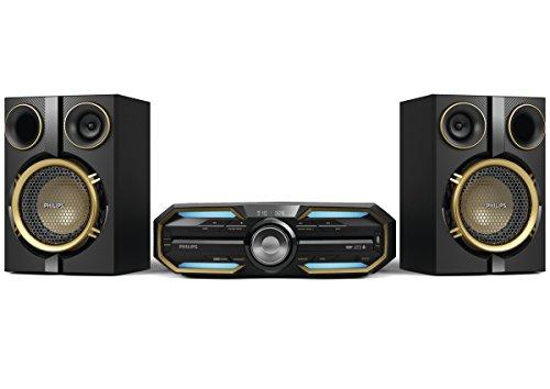 Philips FX25 HiFi-Minisystem (mit Bluetooth, Dual-Verstärker, NFC, Audio-Eingang, 300 Watt) schwarz/gold