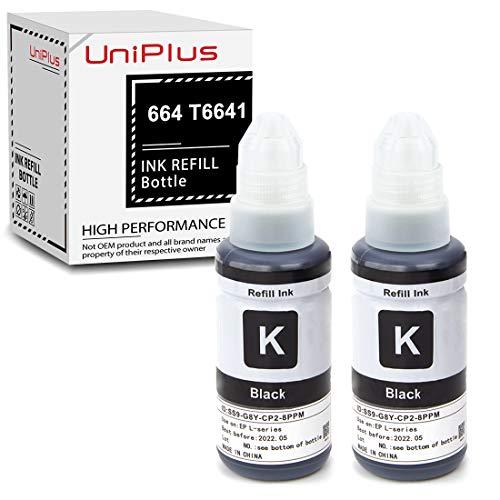 UniPlus 2 Stück 664 T6641 Schwarz Druckertinte 70ml Wiederbefüllbare Flasche Tinte T664 T6641 Kompatibel für ET-2500 ET-2550 ET-2600 ET-2650 ET-3600 ET-4500 ET-4550 ET-14000