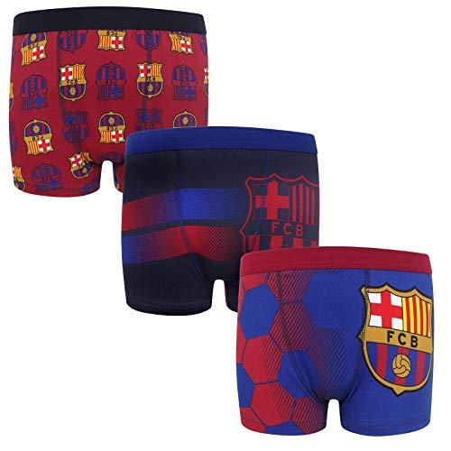 FC Barcelona - Jungen Boxershorts mit Vereinswappen - Offizielles Merchandise - Geschenk für Fußballfans - 3 Paar - Mehrfarbig - 7-8 Jahre