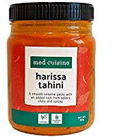 Med Cuisine Harissa Tahini - Pasta De Sésamo Suave Con Un Toque Extra De Chiles Y Especias Seleccionados - Salsa Picante De Tahini Harissa - Vegetariana, Sin OGM Y Sin Gluten - 350gr