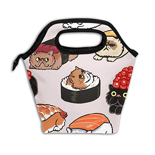 Lao Yang Mai Cat Sushi Cute Japanese Best Black Roller School Lunch Containers Bag Pail Pack Accessories Tote Ice Cooler Insulated Reusable Box Hot Food Bento Warmer Prep Set Kit Decorations