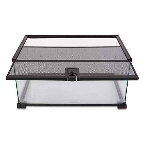 "REPTI ZOO 10 Gallon Reptile Tank Glass Natural Cages Terrarium 20"" x 12"" x 10"" Sliding Screen Top for Reptile Hamster Hedgehog Small Animals"