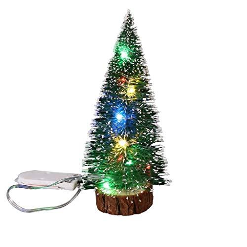 ZXC Home Árbol de Navidad de Mano de obra exquisita, agre kerstboom kerstversiering, desktop-display groen roezeband kant met LED-verlichting Pine Needles mini-kerstboom grootte optioneel