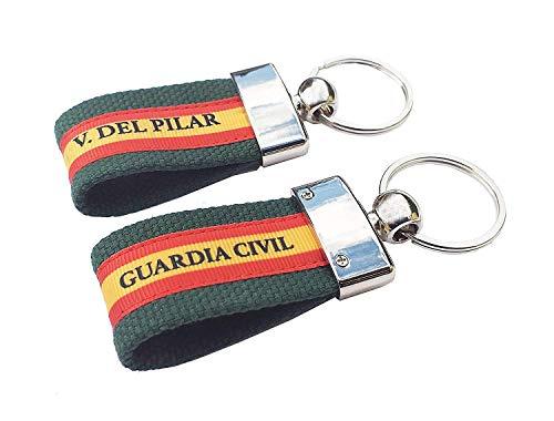 LGP - Pack de 2 Llaveros de ESPAÑA de Lona Verde, Grabación Guardia Civil y Grabación Virgen del Pilar