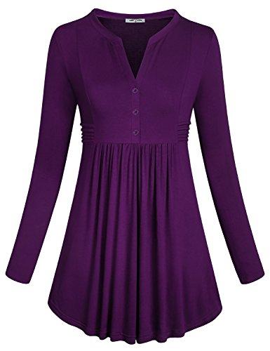 Button Neck Tops,SeSe Code Womens Basic Plain Long Sleeve Soft Figure Flattering Shirt Henley V Neck with Button Flowy Tunic Swing Casual Peplum Blouse Purple Medium