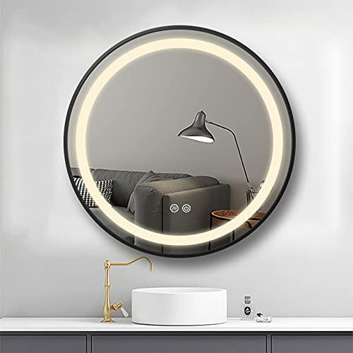 PUCHIKA Miroir de salle de bain rond LED avec cadre en aluminium de qualité supérieure - Noir - Miroir de salle de bain avec éclairage tactile - Économie d'énergie - Anti-buée - Diamètre : 60 cm