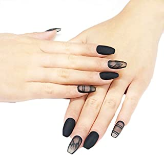 JINDIN 24 Sheet Fake Nails with Glue Design Sticker Ladies Nail Art Tips Coffin Shape Acrylic False Nails Full Cover Black Transparent Style