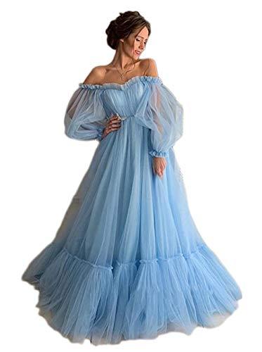 Maricopyjam Women's Puffy Tulle Bubble Long Sleeve Off Shoulder Prom Beach Dress Style A Blue US Size 6